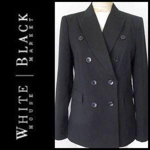WHBM Pinstriped Double Breasted Tuxedo Jacket Sz 4